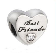 Fits Pandora Bracelet bangle Friendship Heart Silver Beads With CZ Original 925 Sterling Silver charms DIY(China (Mainland))