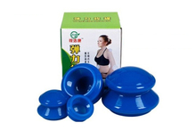 New 1set* 4 Cups Blue Vacuum Silicone Massage Cupping cups Anti-cellulite Traditional Chinese Healthy Products Therapy  massager