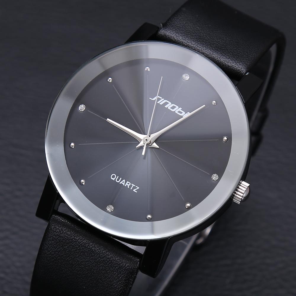 Top Sale! SINOBI Diamond Crystal Silver Case Elegant All Black Men Quartz Wrist Gift Dress Men's Leather Strap Watches(China (Mainland))