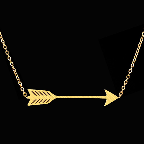 2016 Fashion Hunger Games Choker Necklace BFF Jewelry Silver Gold Filled Collier Stainelss Steel One Direction Arrow Necklace(China (Mainland))