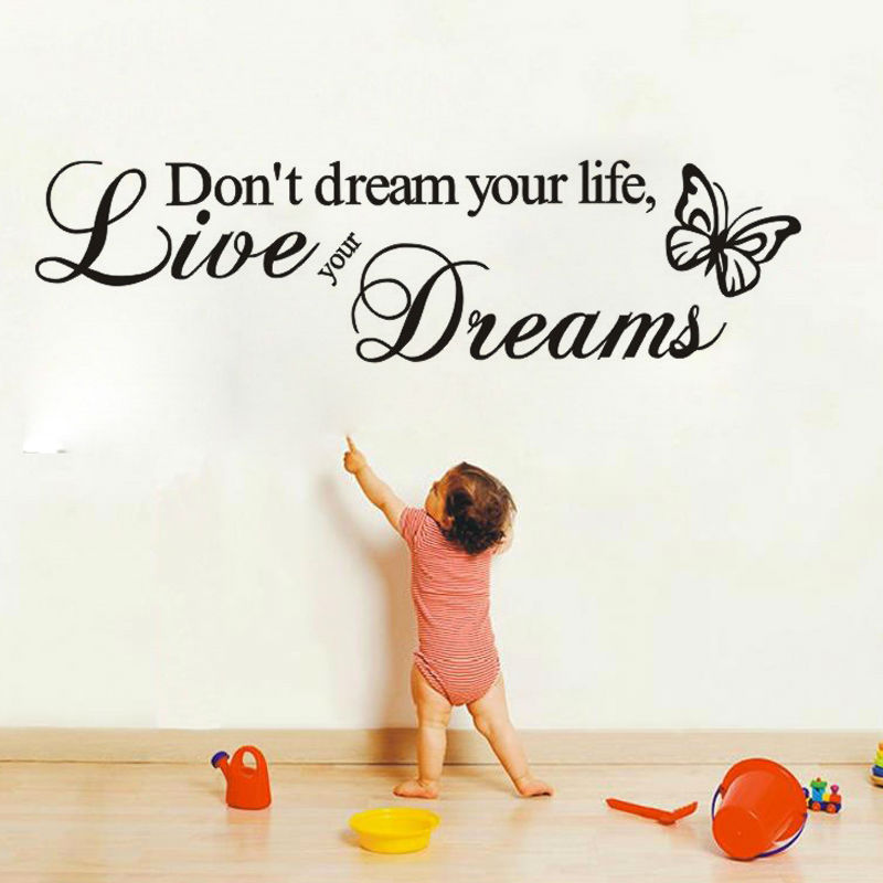 DCTOP Word Live Your Dream Butterflies Wall Stickers Home Decor Removable Vinyl Art Wall Decals Decoration(China (Mainland))
