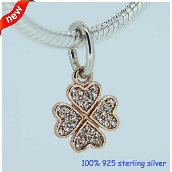 Настоящее 925-Sterling-Silver роуз золотой мотаться CZ камни бусины подходит европейский женщина стиль ювелирный шарм браслеты змея цепи