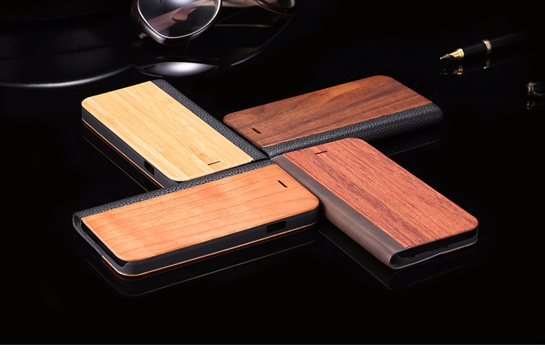 Vintage Genuine Bamboo Wood Flip Leathe Case For iPhone 6 6S Plus Real Rosewood Wooden Wallet Cover For iPhone 7 7 Plus Card Slot  (1)
