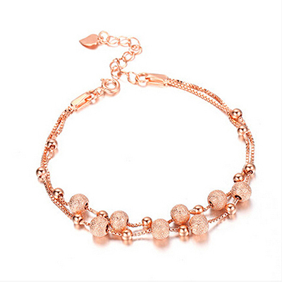 2015 Summer Essential 925 Sterling Silver Charm Bracelets For Women Box Chain With Rose Gold Bead Ladies Fashion Jewelry(China (Mainland))