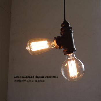 Luxury Vintage Antique Loft Iron 2 double Bulbs slider pendant light Lamps For Parlour Bar Europe Style E27 Free Shipping