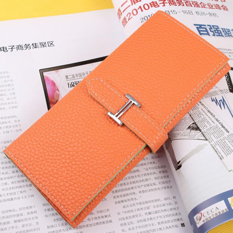 2015 new fashion women wallets drawstring nubuck Leather zipper wallet women's long design purse two fold more color clutch(China (Mainland))