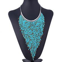 100% Handmade Bohemian Style Long Tassel Fashion Jewelry Turquoise Color Beads Pendant Statement Necklace XL5180