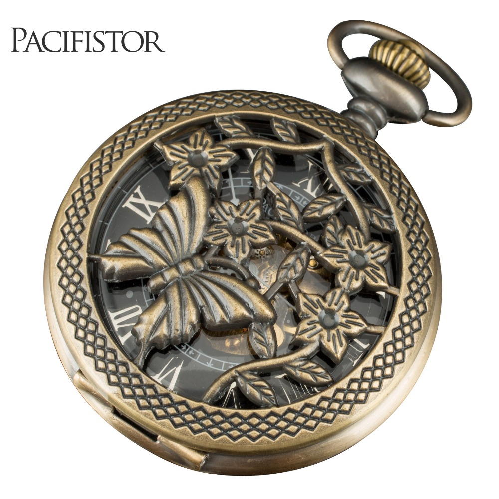 PACIFISTOR Delicate Vintage Women Ladies Pocket Watch Christmas Gift Butterfly Flower Skeleton Quartz Necklace Steampunk<br><br>Aliexpress