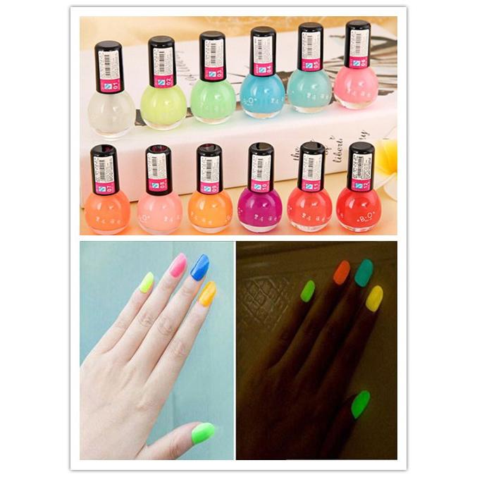 Noctilucous 12 Cute Candy Colors Fluorescent Neon Luminous Nail Art Polish Glow Dark Enamel Promotion Best(China (Mainland))