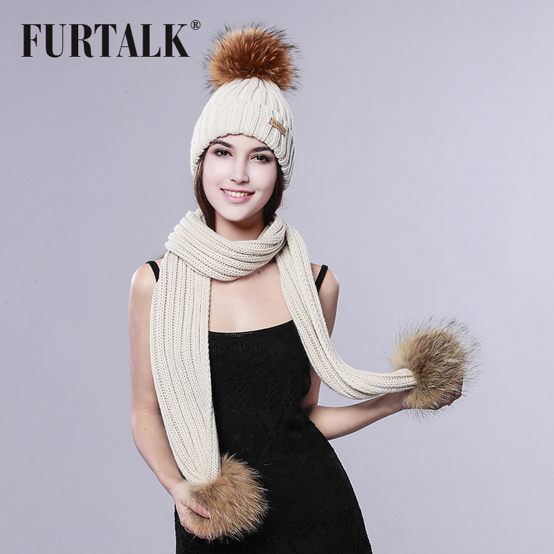 FURTALK Pom Pom Hat and Scarf Women Winter Long Knit Fur Scarf Hat Scarf Set(China (Mainland))