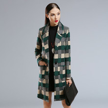 2016 Fashion Casual trend Autumn Winter Women Tartan Trench Plaid Elegant Noble Warm Overcoat Woolen Coat