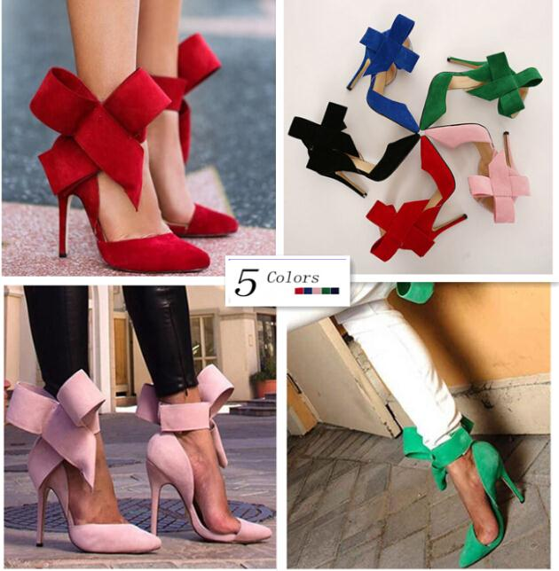 Plus Size Shoes Women Big Bow Tie Pumps 2015 Butterfly Pointed Stiletto Shoes Woman High Heels Wedding Shoes Zapatos De Mujer(China (Mainland))