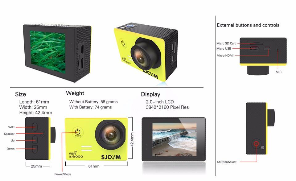 Купить Plus и SJ5000 SJCAM SJ5000 SJ5000 Wi-Fi и SJ5000 Действие камера 1080 P Full HD 170 Градусов 30 М Водонепроницаемая Камер