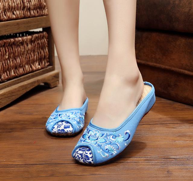 Старинные старого пекина лотоса сандалии холст тапочки вышивка обувь синий белый ...
