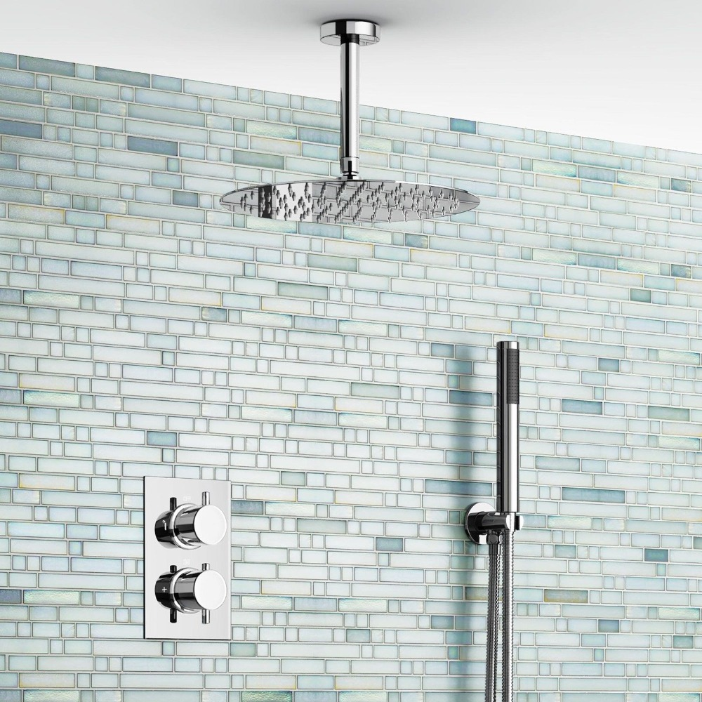 "12"" Ceiling Round Mixer Shower Ultra Thin Thermostatic Shower Head Set Bathroom Chrome Valve Set(China (Mainland))"
