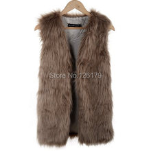 New Women Winter Faux Fake Fur Vests Fashion Warm Sleeveless Plus Size Vest Jacket Coat with Waistcoat Outwear colete de pele(China (Mainland))
