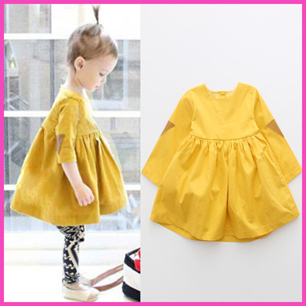 2015 Spring wind triangle women wear Western leather yellow pettiskirt dress doll dress with long sleeves shirt dress sweet(China (Mainland))