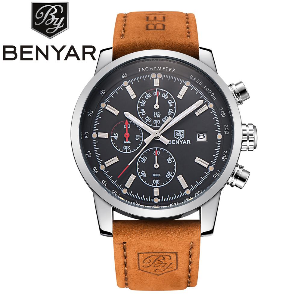 BENYAR Brand Sport Men Watch Top Brand Luxury Male Leather Waterproof Chronograph Quartz Military Wrist Watch Men Clock saat(China (Mainland))