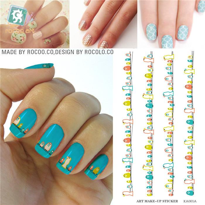 New Beauty Nail Promotions fashion colorful birds nail stickers for women DIY nail art KA001A Nails