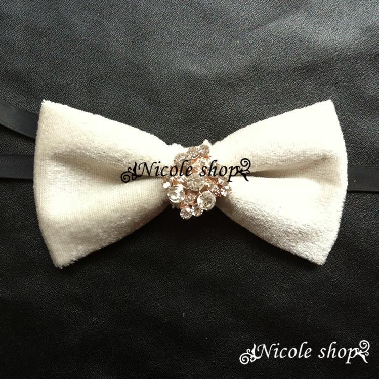 Men's high quality silk pure white velvet diamond wedding dress groom bow tie bow tie dinner fashion design 005867(China (Mainland))