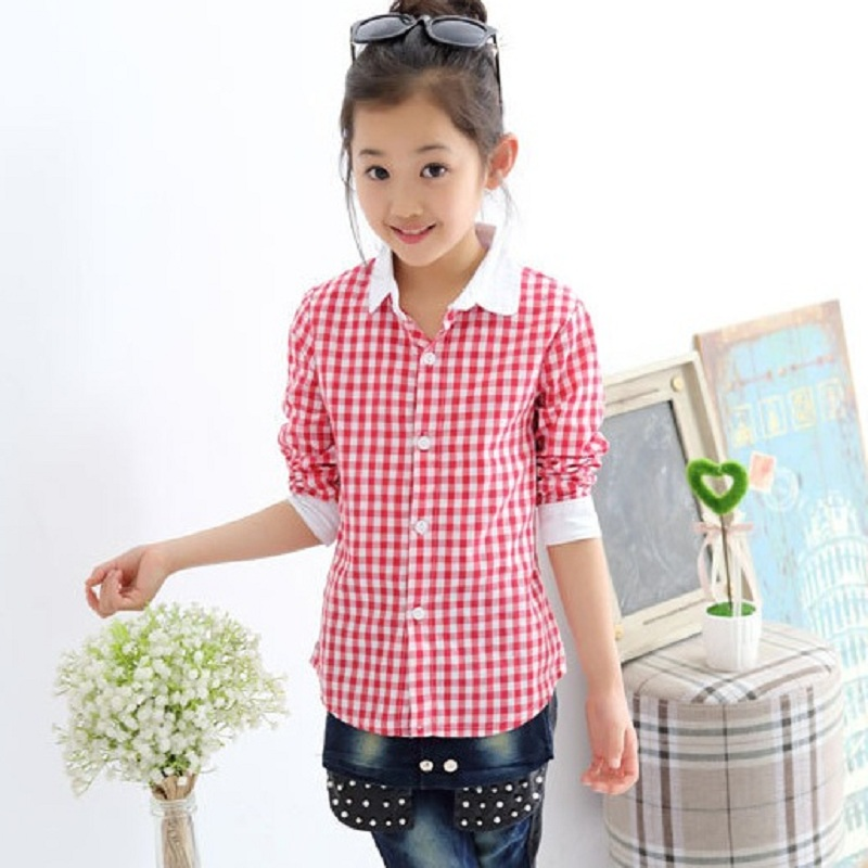 Girls Check Shirts Designs Top New Style Designer Linen Check
