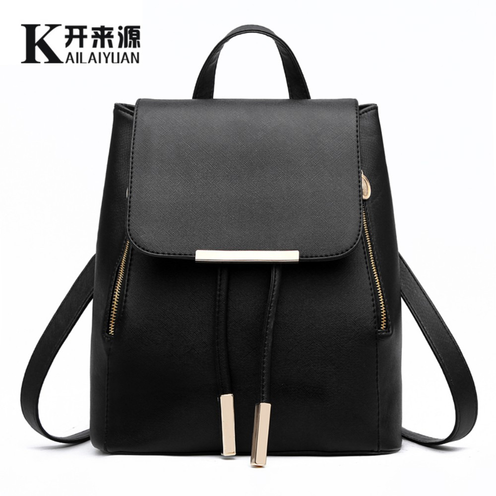 KLY 100% Genuine leather Women backpack 2017 New wave of female Korean student fashion casual backpack shoulder bag(China (Mainland))