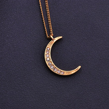 Buy New fashion jewelry chain link moon pendant necklace gift women girl N1749 for $1.31 in AliExpress store