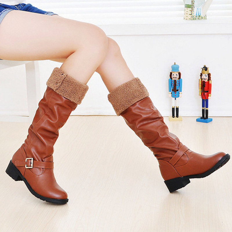 Fashion Winter Mid knee high boots ladies botas Women motorcycle Boots brown black yellowflats heels autumn shoes woman <br><br>Aliexpress