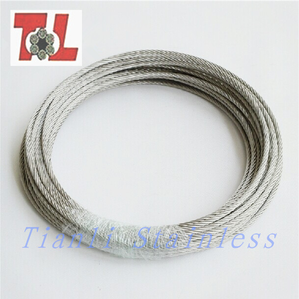 Diameter 5 mm 316 Stainless Steel Wire Rope 7 x 19 Construction 50M/Reel(China (Mainland))