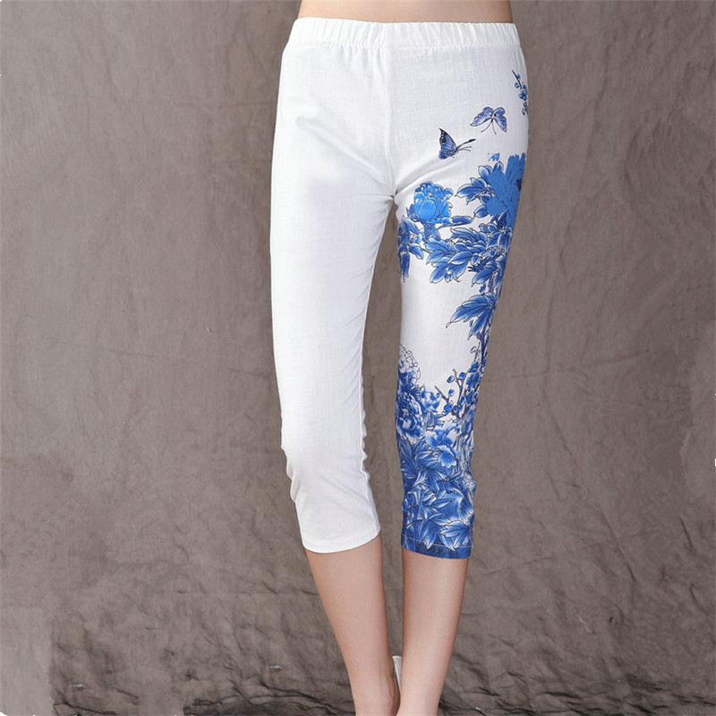Women Leggings Mid Waist Fitness Casual Printed Pants Stretch Cropped Leggings Summer Fashion New Painted Leggings HP004(China (Mainland))