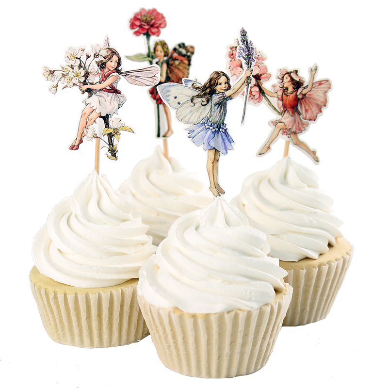 48pcs Flower Fairy Cupcake Toppers Picks for Birthday Decorations New Year Easter Halloween Party Cake Decoration Favor(China (Mainland))