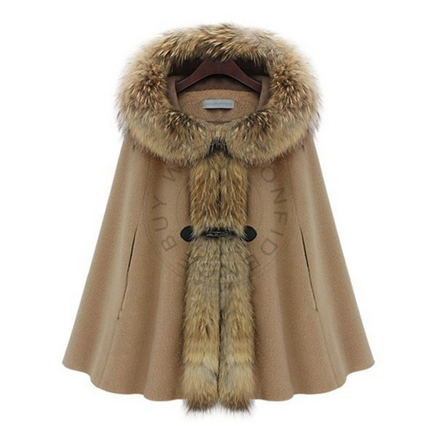 High Quality Wool Cloak Raccoon Womens Cashmere Hooded Cape Outdoor Jacket Single Breasted Shawl Poncho L nz86(China (Mainland))