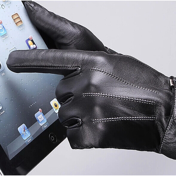Men's touch gloves synthetic leather glove winter leather gloves PU gloves with touch finger winter glove(China (Mainland))