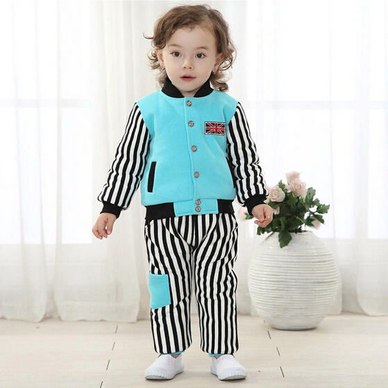 2016 Limited Promotion Down & Parkas Full Baby Girl Clothes Clothing Set Minnie Autumn And Winter Leisure Suit Stripe Cotton Boy(China (Mainland))