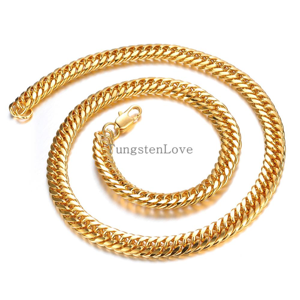 High Quality Chunky Gold Plated Necklace Chains Jewelry For Men Punk Biker Heavy MENS Chains THICK MIAMI CUBAN LINK collares(China (Mainland))