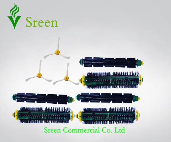 Robotic Vacuum Cleaning Parts 3 Set Brush Kit + 3 Side Brush for iRobot 500 Series 510 520 530 540 550 560 570 610(China (Mainland))