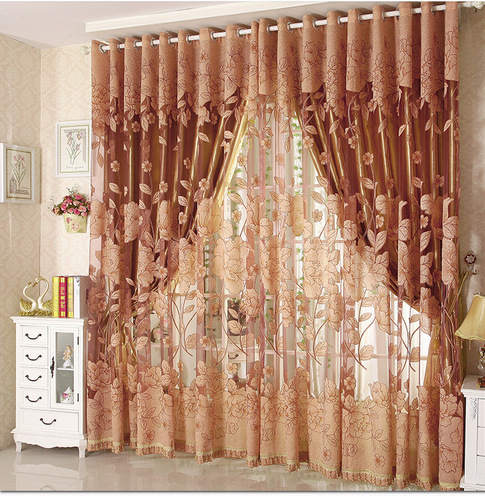 High Quality Cutout Carved Embroidered Yarn/Tulle/Sheer / Gauze Curtain Finished Product Blackout Window Curtain Living Room(China (Mainland))