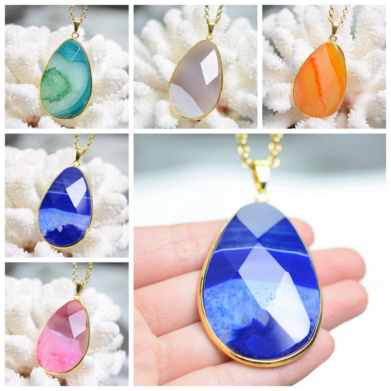 Women Jewelry Natural Gem Stone Agate Necklace Pendant Smooth Big Druzy Drusy Pear Shape Cut Crystal Necklaces Gold Plated Chain(China (Mainland))