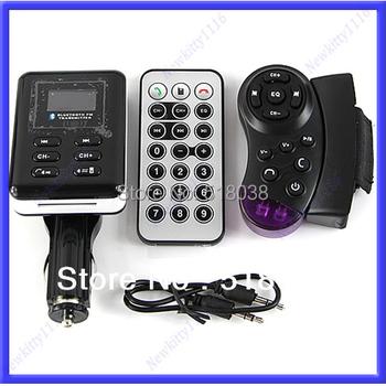A25 Free Shipping New Bluetooth Car Kit MP3 Player FM Transmitter Steering Wheel USB SD MMC Card