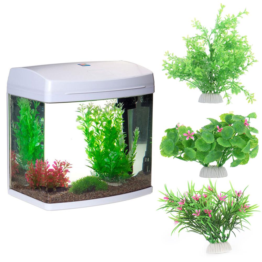 Aquarium fish tank china - 3 Combinations Aquarium Fish Tank Ornament Clover Simulation Fish Tank Landscape Decor Artificial Red Plastic Water