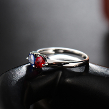 In Solid 18K White Gold Two Color Natural Stone Sapphire Ruby Ring In Pear Cut 4x5mm