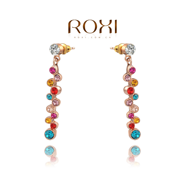 11.11 wholesale rose gold earrings women Crystal Earrings, Micro-Inserted with AAA zircon crystal,fashion bijouterie(China (Mainland))