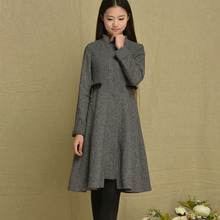 [LYNETTE'S CHINOISERIE - BE.DIFF] Winter Original Design Women Plus Size Slim Vintage Stand Collar Plaid Woolen Outerwear Coat(China (Mainland))