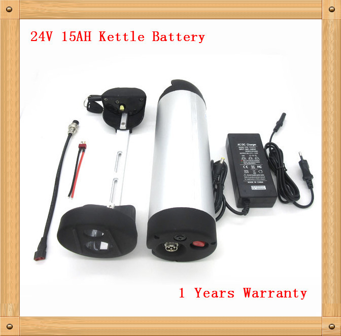 Rechargeable 24V 15AH Li-ion Electric Bicycle Bottle Battery ebike kettle battery with 15A BMS 29.4V 2A charger TNT shipping(China (Mainland))