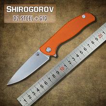 Shirogorov 95 Hati tácticas Flipper cuchillo plegable hoja de acero D2 G10 de acero manejar exterior supervivencia cuchillo de caza que acampa herramienta EDC