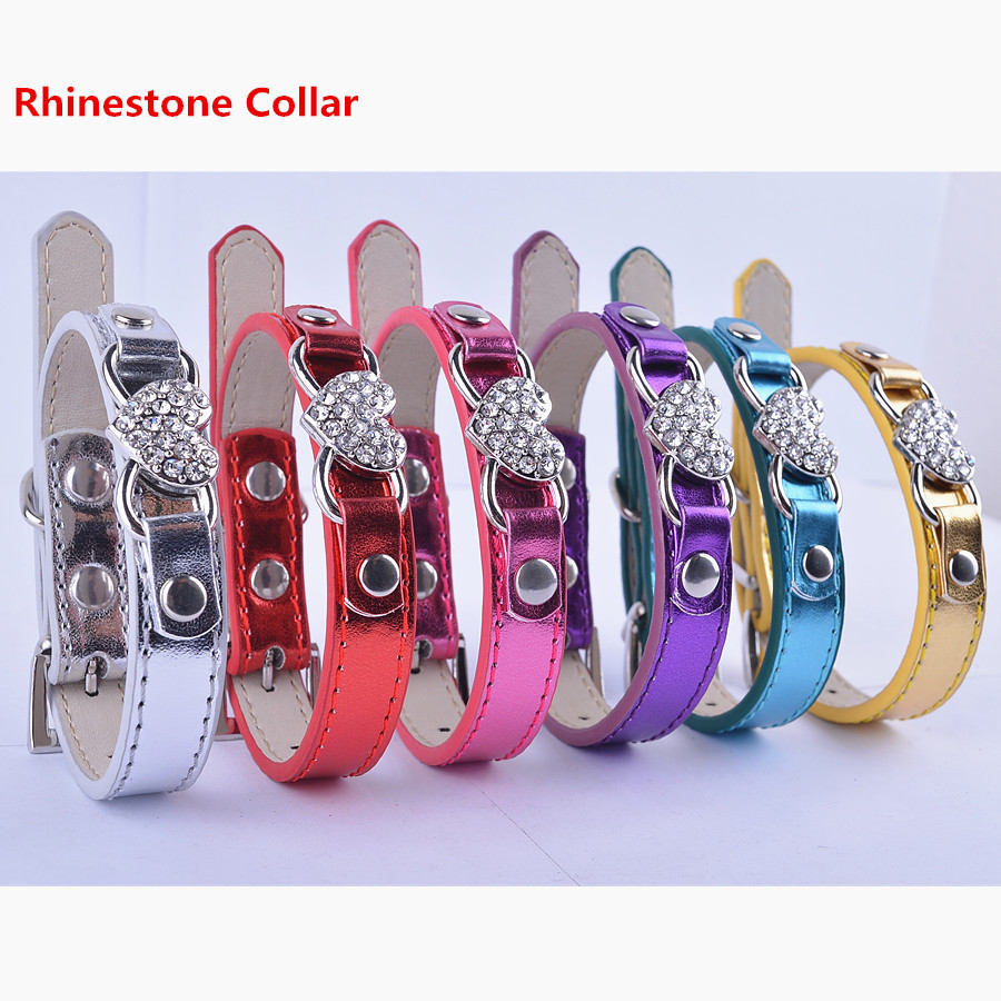 Personalized Pet Dog Collar Flashing Leather Collar Rhinestone Heart Accessories Collar Small Products For Animals(China (Mainland))