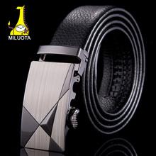 [MILUOTA] 2015 Genuine leather belt men automatic alloy buckle men belts luxury crocodile grain pattern ceintures homme WN021