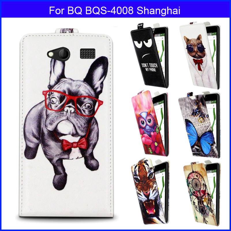 Fashion Patterns Cartoon Luxury Flip up and down PU Leather Case for BQ BQS-4008 Shanghai,Free gift(China (Mainland))