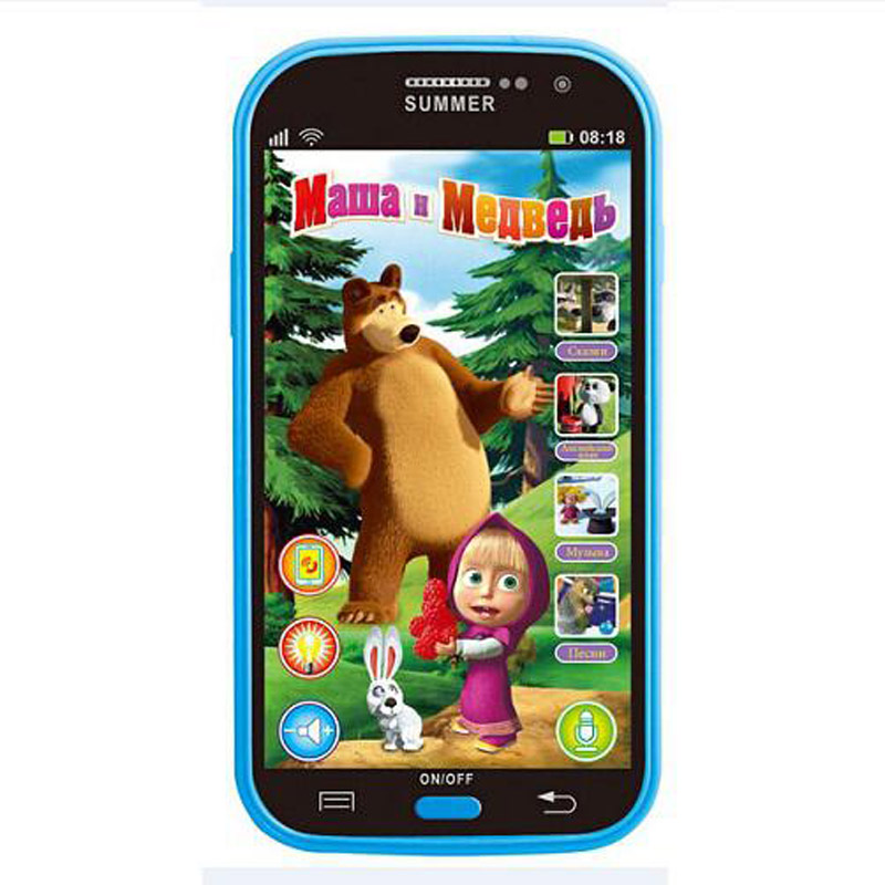 Baby Mobile Phone Toy Masha And Bear Russian Language Kids Children Electronic Music Toys Cellphone Telephone Gifts For Baby 001(China (Mainland))