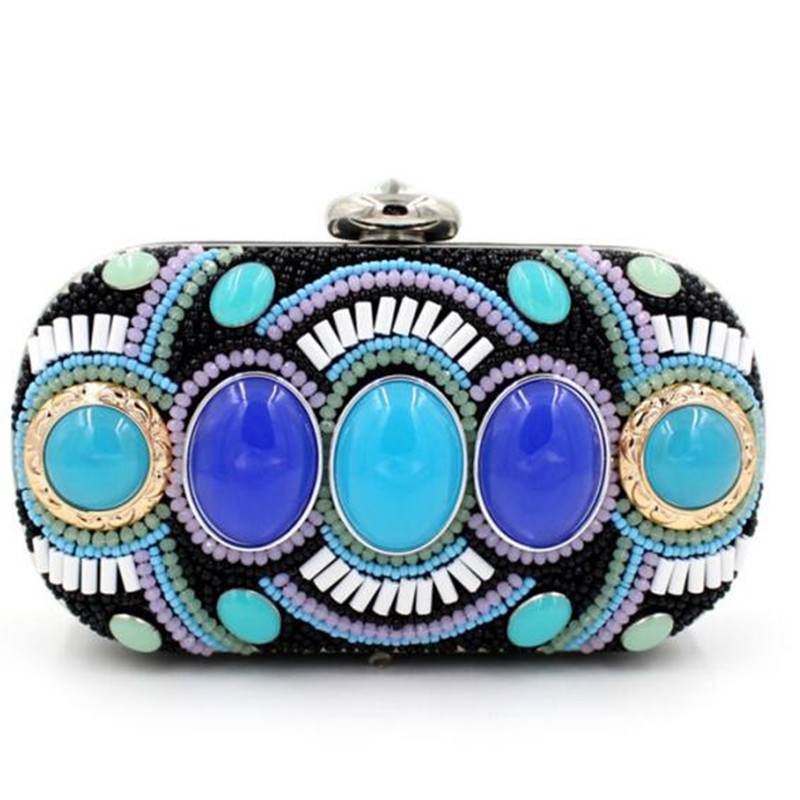 2016 new Day clutches vintage handmade handbags gemstone high-grade Peacock Green hand-beaded designer bags women messenger bags(China (Mainland))